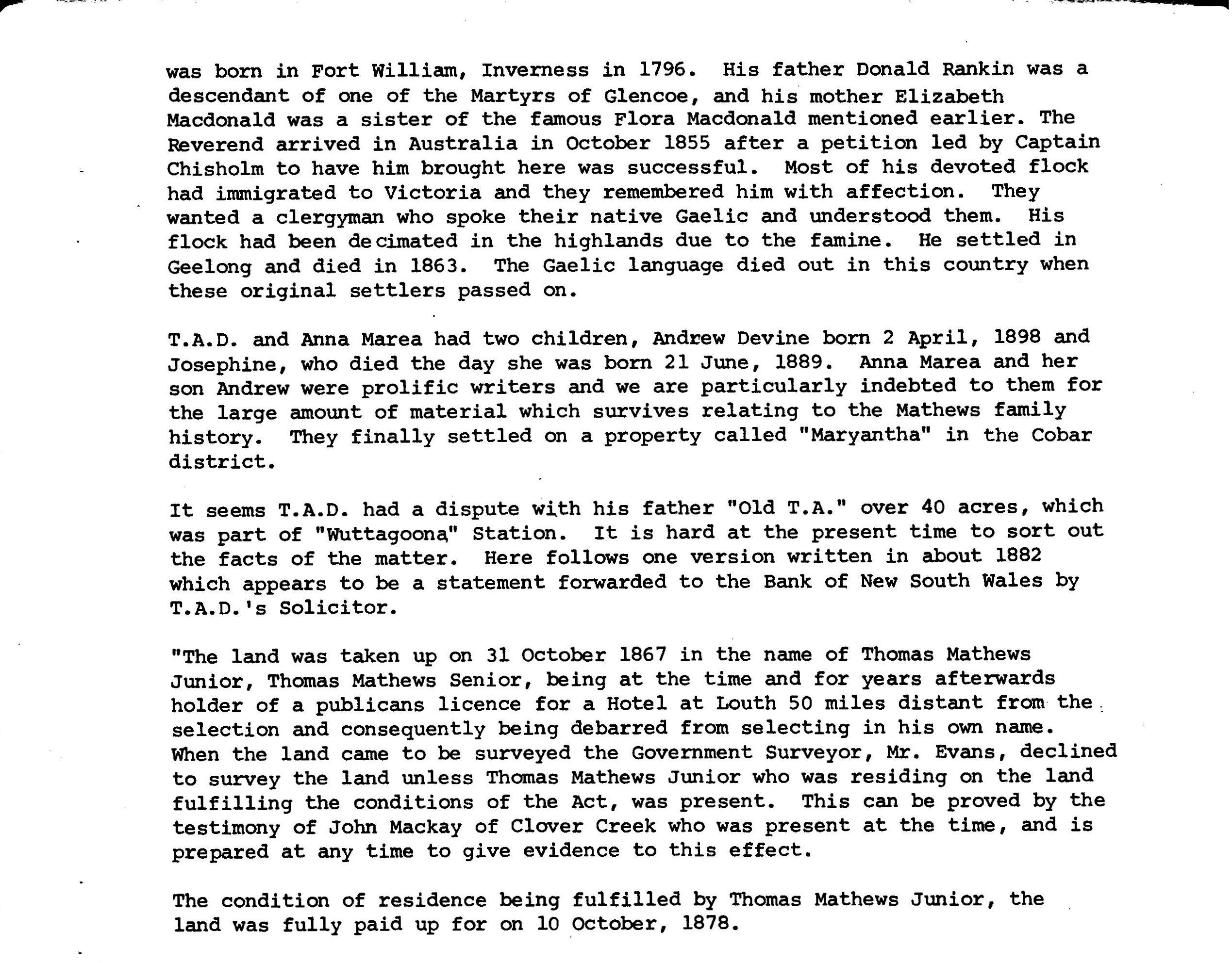 Page 13a Mathews Family History