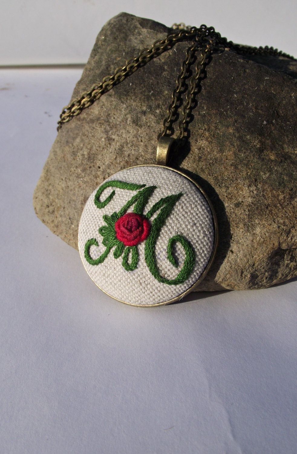 Hand embroidered pendant with letter M by ZoZulkaart on Etsy