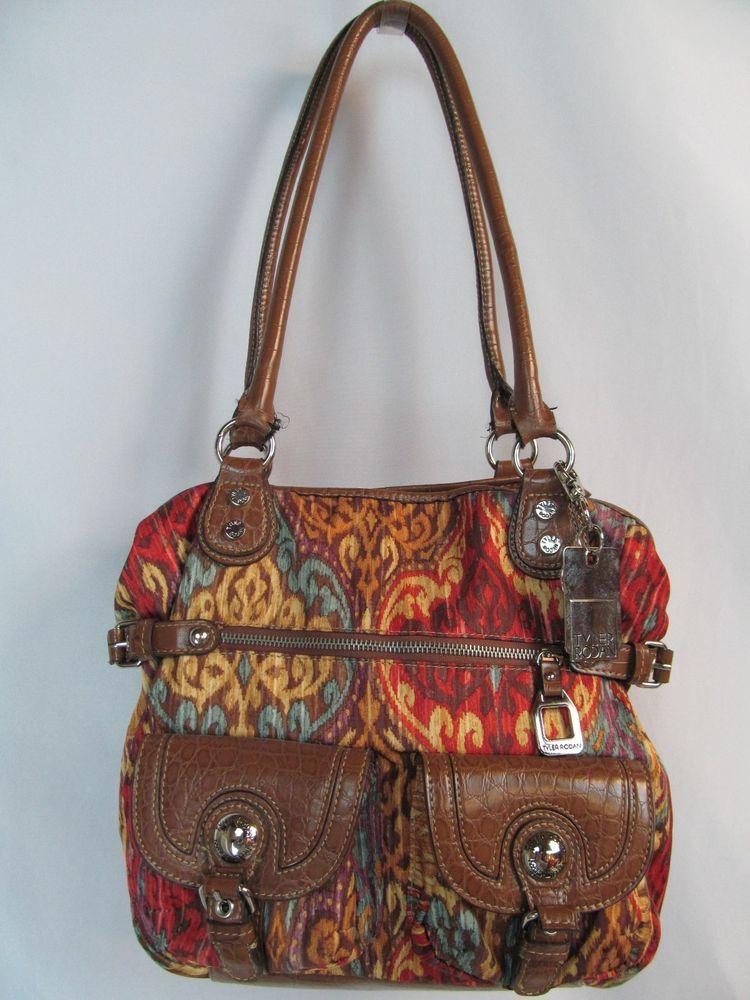 Tyler Rodan Large Aztec Ethnic Royal Print Tote Bag W Umbrella