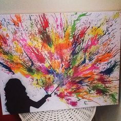 i made this really colourful magical crayon art canvas today great gift idea for any potterhead or y wachsmalkunst geschmolzene schwamm malerei 40x60 leinwand 120x80