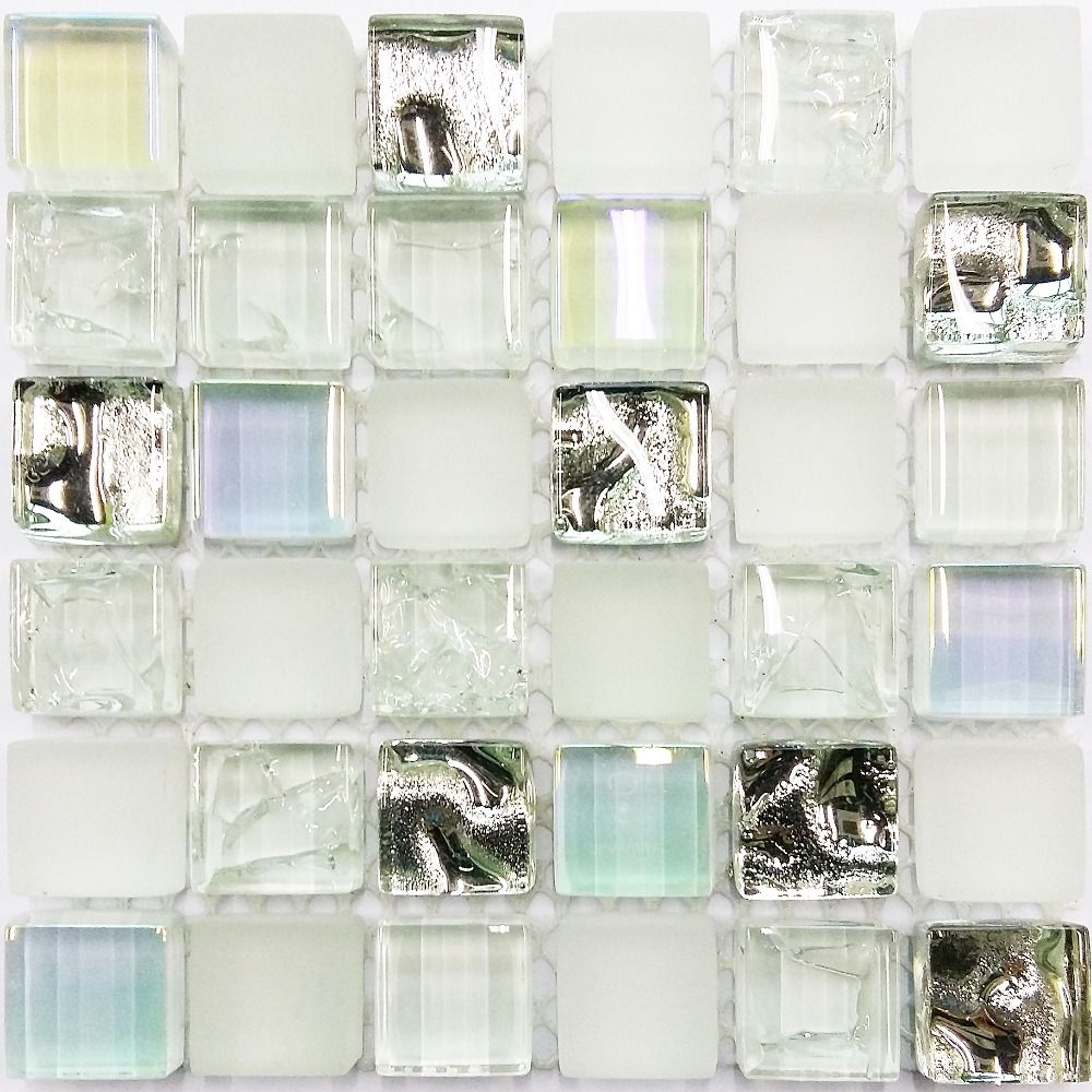 glass tile sample ice white iridescent aqua glass tile kitchen backsplash bathroom wall deco mosaics