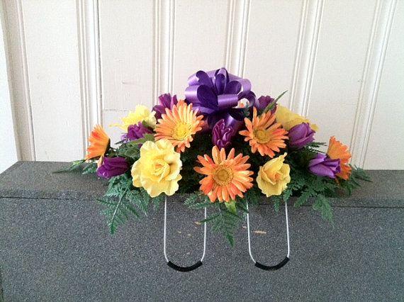 Rose/daisy silk flower headstone saddle by GuardianFlowers on Etsy, $34.99
