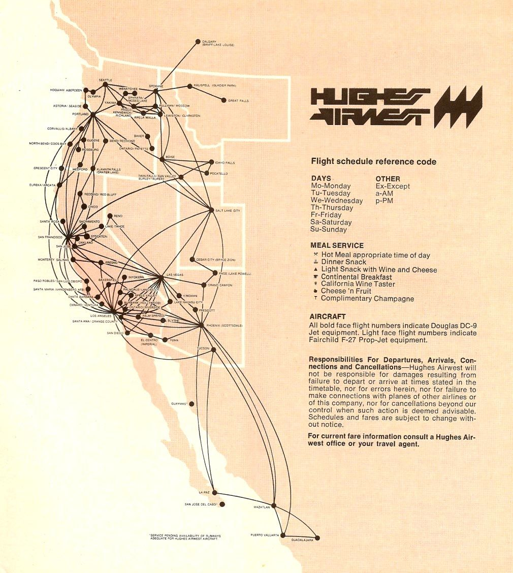 Hughes Airwest Route Map | aviation | Northwest airlines ... on central airlines route map, air niugini route map, iberia route map, twa route map, national airlines route map, eastern air lines route map, horizon air route map, republic airlines route map, delta air lines route map, aeroperu route map, american airlines route map, skywest airlines route map, air south route map, luxair route map, great northern route map, compass airlines route map, british airways route map, alaska airlines route map, germanwings route map, aeroflot route map,