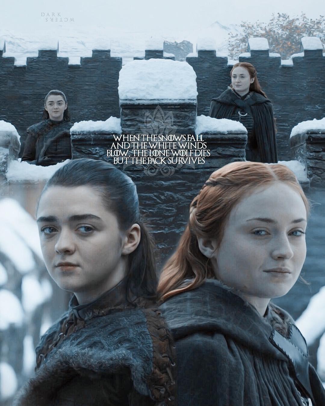 The Pack Survives Arya And Sansa Starksisters Aryastark Sansastark Seasonfinale Gameofthrones Gots7 Hous Arya And Sansa Sansa And Arya Sansa Stark