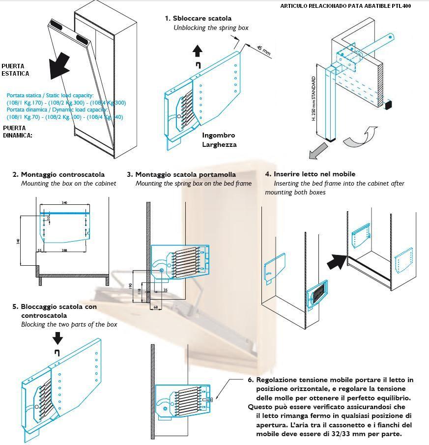 Mecanismo cama abatible mla 108 1 juego camas pared - Mecanismo para camas abatibles ...