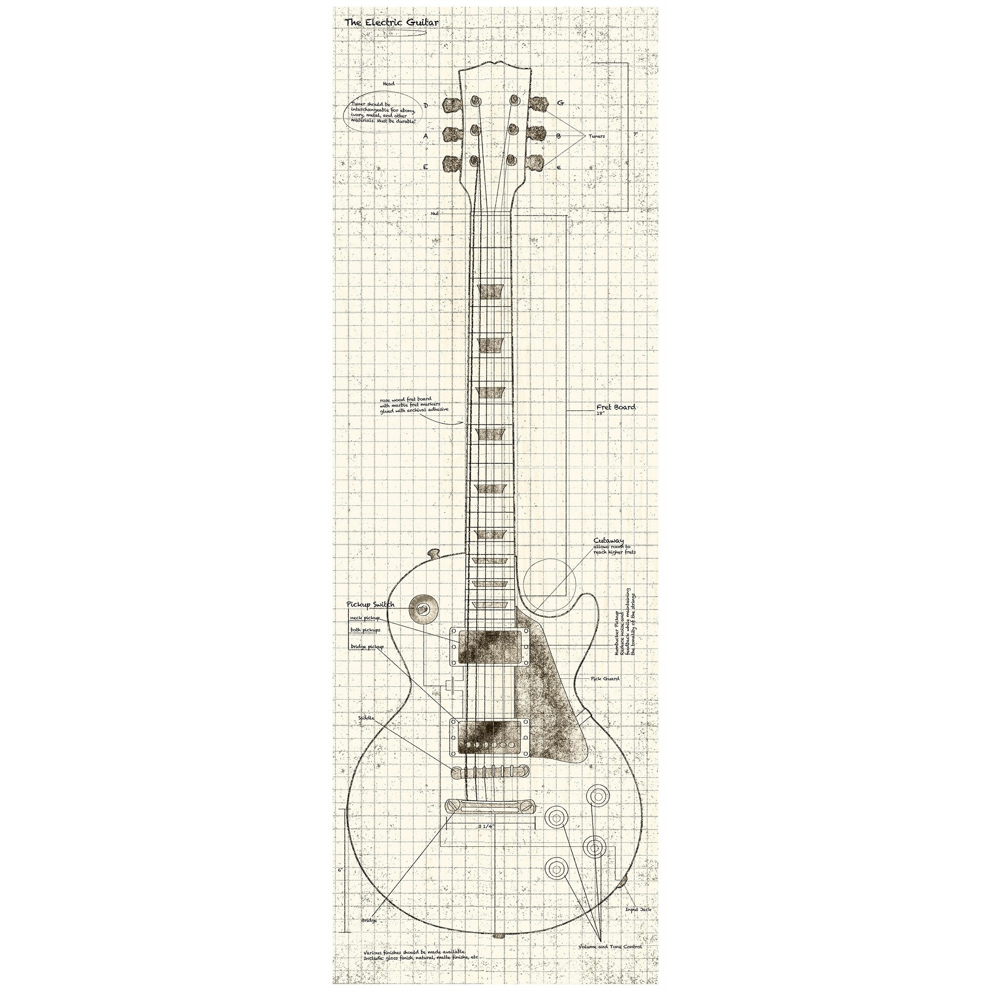 36 X 24 Blueprint Guitar Decorative Wall Art Ptm Images White Wall Art Ptm Images Graphic Art Print