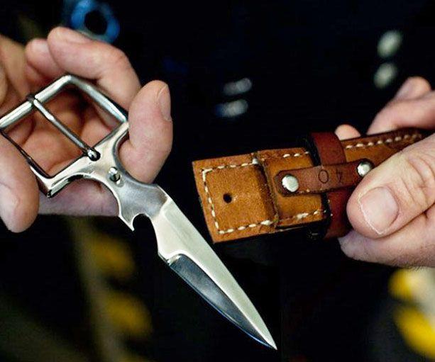 hidden belt buckle knife leather belts knives and leather. Black Bedroom Furniture Sets. Home Design Ideas