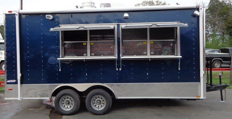 Concession Trailer 8 5 X18 Blue Catering Food Custom Vending Concession Trailer Catering Food Food Trailer