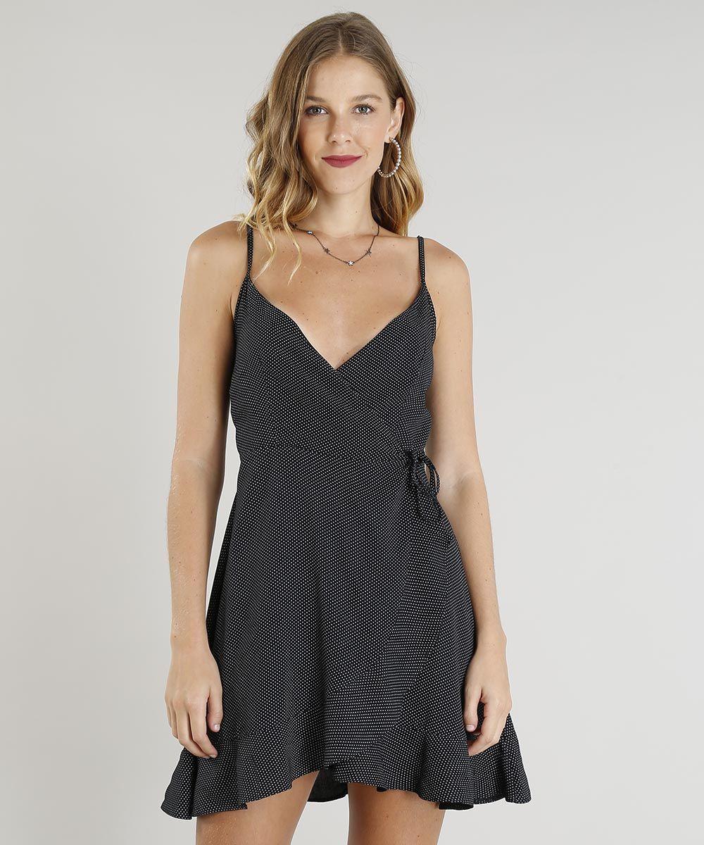 8df350436 vestido feminino curto envelope estampado de poá decote v preto  #vestidoenvelope #vestidocurto #vestidobabados