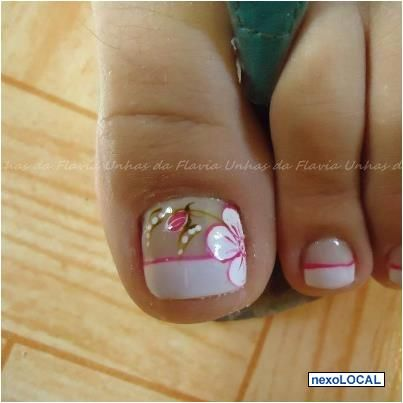 Estilo Francés Con Rosas Pedicuree Pinterest Nails Toe Nail