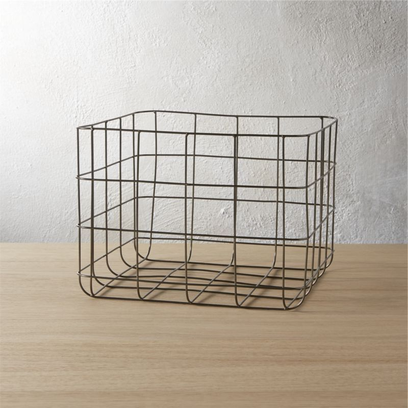 Black Wire Basket Handcrafted Of Iron Freeform Grid Is Powdercoated And Welded Into An Open Framework Keeps Odds Ends Contained From
