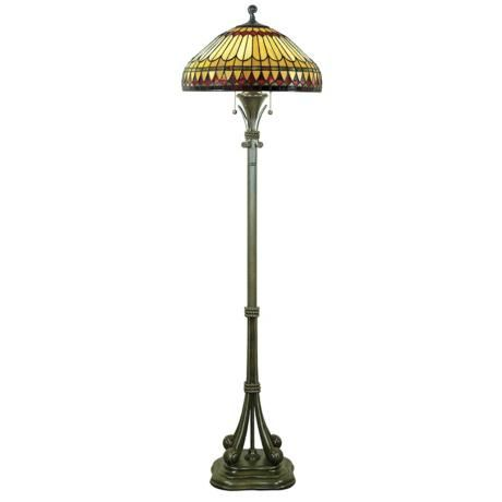 Feather motif shade in tiffany style glass lends this floor lamp and distinctive appeal design by quoizel lighting style 95341 at lamps plus