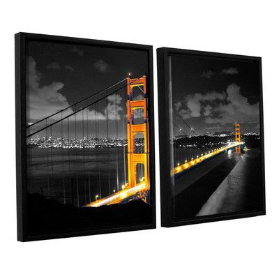 ArtWall San Francisco Bridge I by Revolver Ocelot 2 Piece Framed Graphic Art on Wrapped Canvas Set Size: