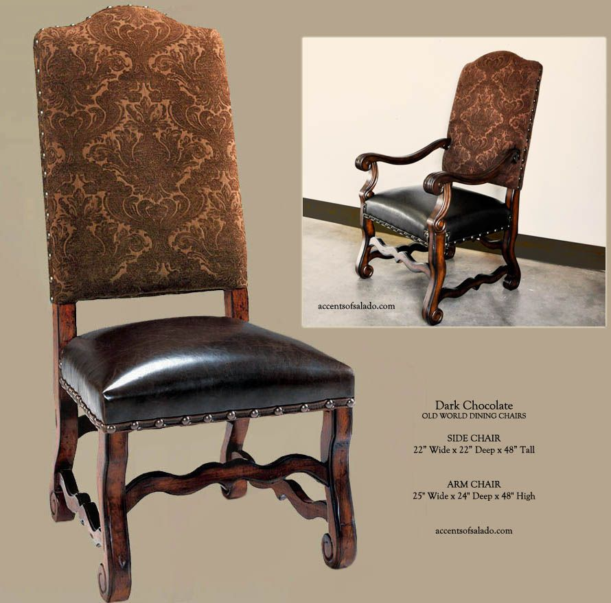 Tuscan Dining Room Chairs in dark chocolate upholstery with a dark ...