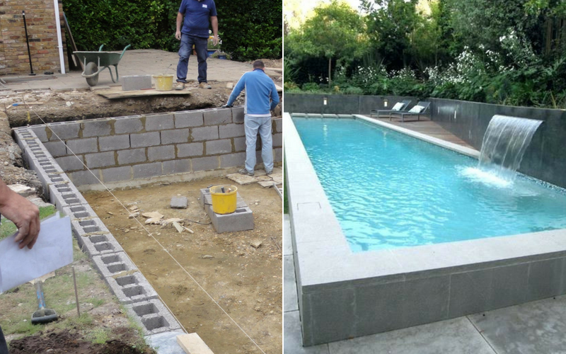 Genius Ways To Use Cinder Blocks A Pool Homemade Pool Ideas Haso Blog Homemade Swimming Pools Cinder Block Cinder Block House