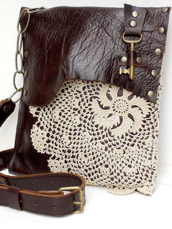 017c192acf Leather Boho Messenger Bag with Crochet Pinwheel Doily   Antique Key by Urban  Heirlooms