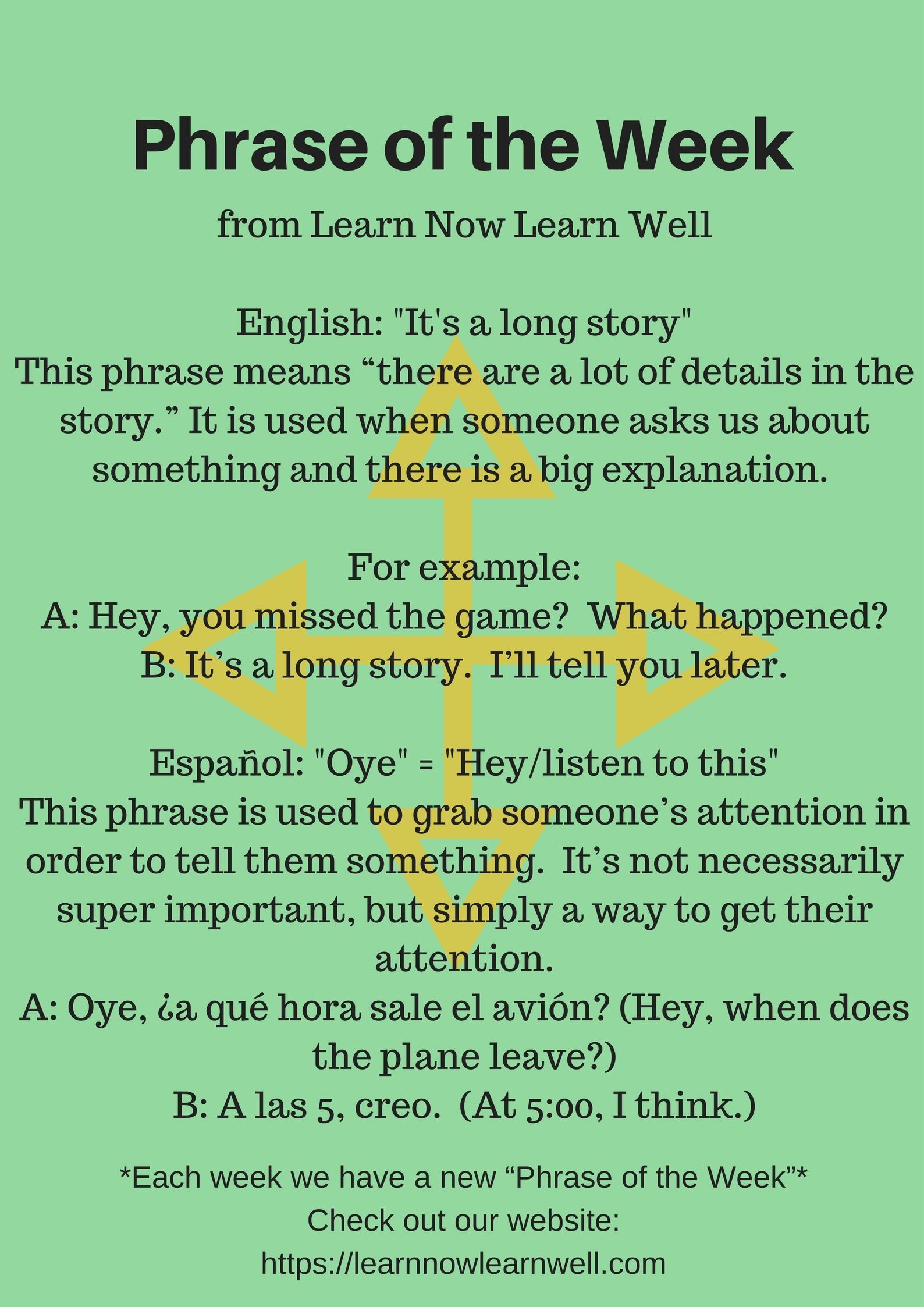 Learn Common Phrases In English And Spanish Each Week For Free
