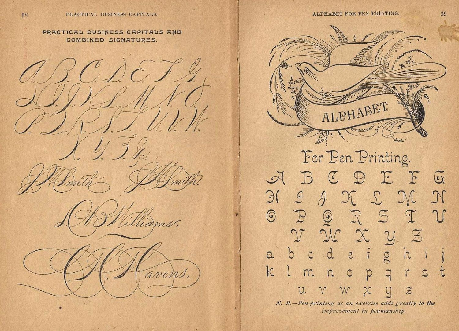 1890s Calligraphy Prints Two Pages Dove Alphabet Pen Writing ...