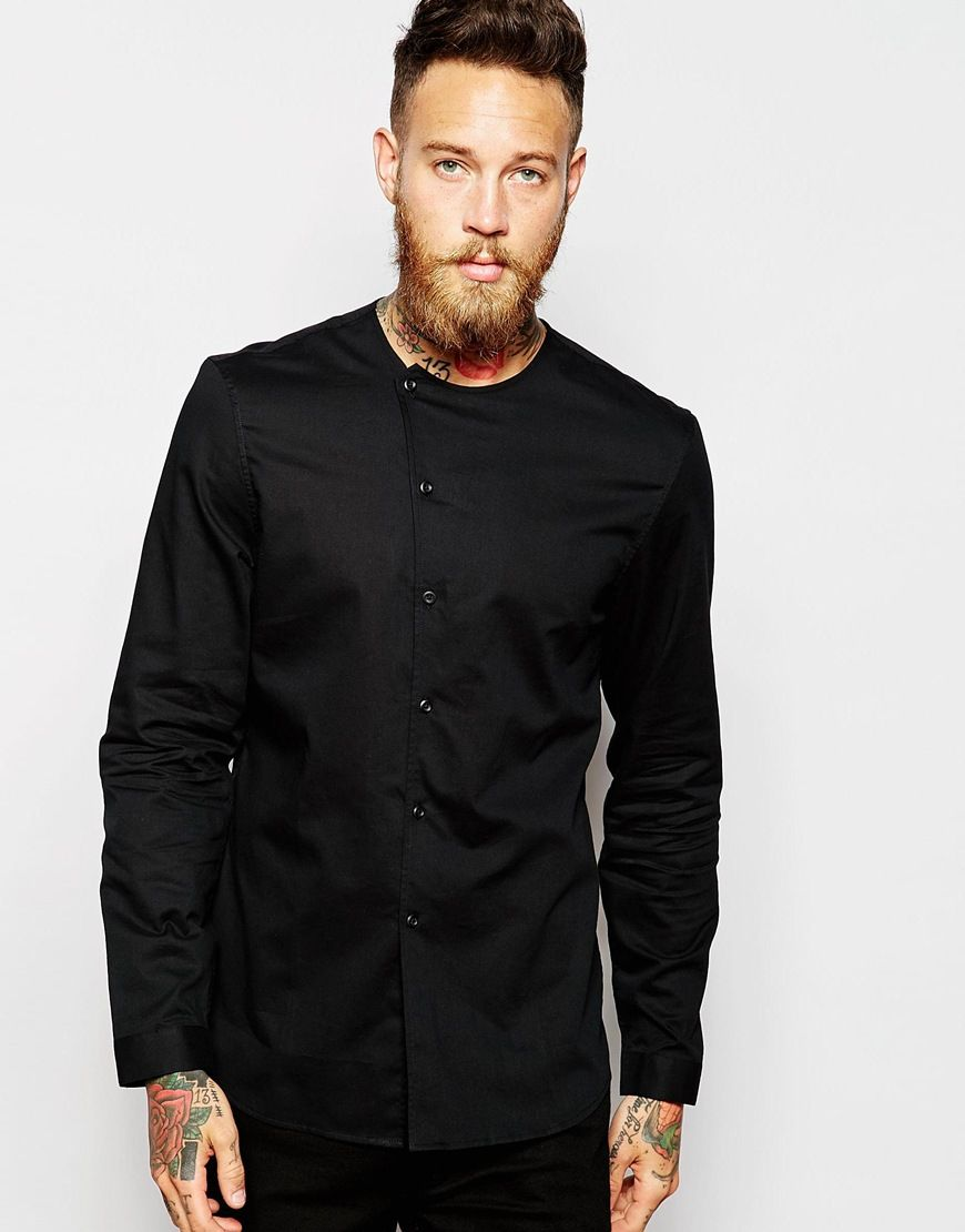b71b90cc84600 Image 1 of ASOS Collarless Shirt With Asymmetrical Placket