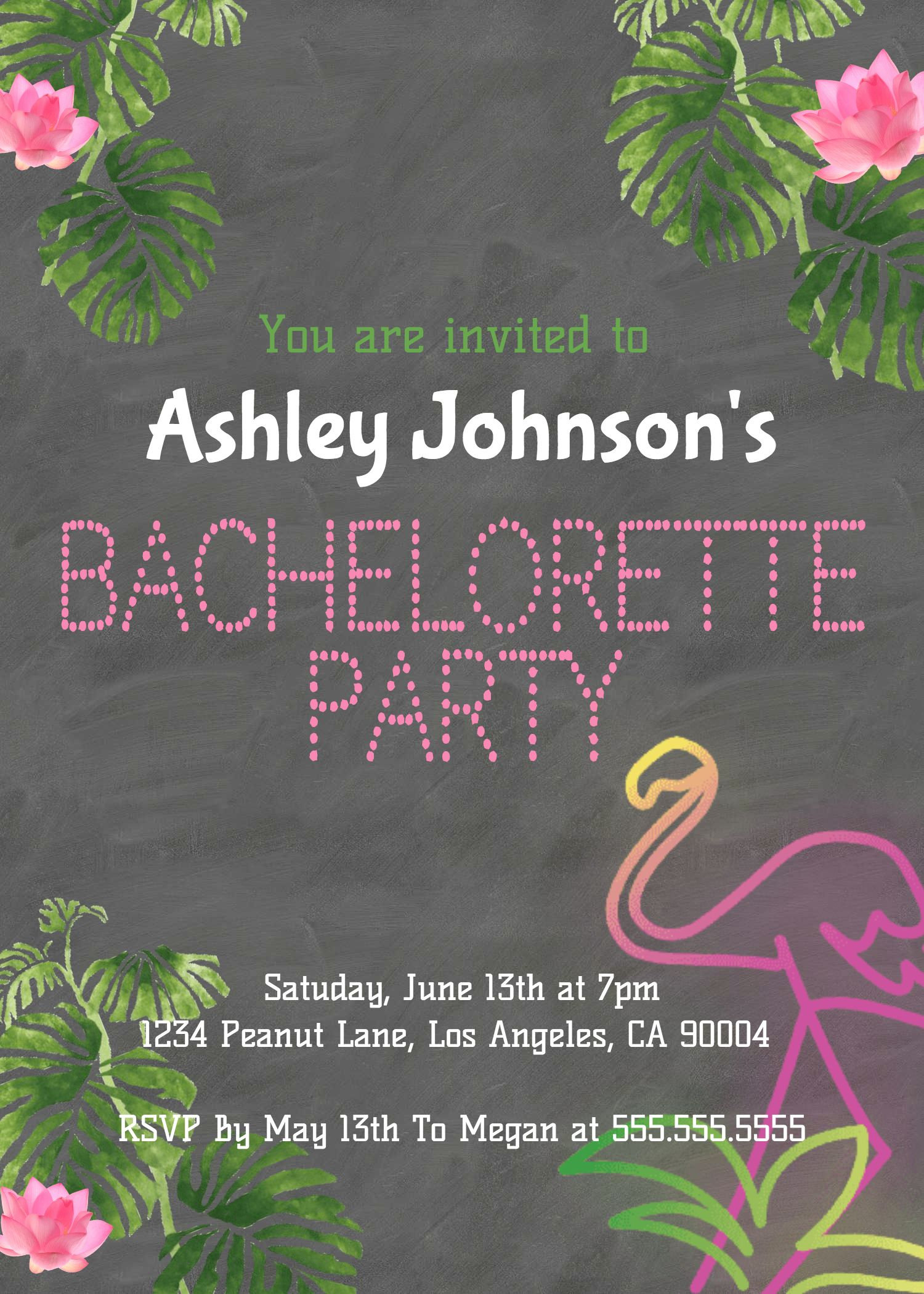 Bachelorette Party Invitation Flamingo Bridal Invite Girl Bride