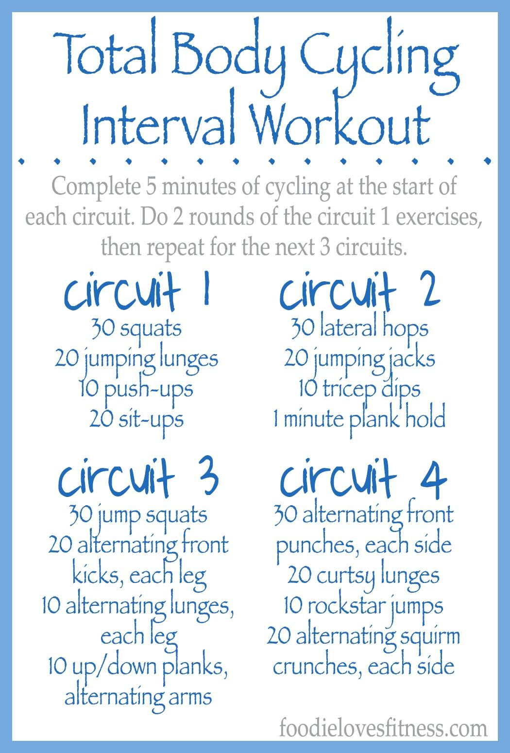 Total Body Cycling Circuit Workout Interval Workout Circuit