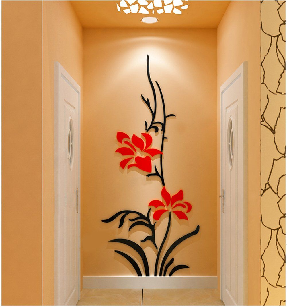 3d butterfly mural wall sticker decor decal pop up stickers art - Creative Flower Wall Murals For Living Room Bedroom Sofa Backdrop Tv Wall Background Originality Stickers Gift Removable Wall Sticker Decor Decals X