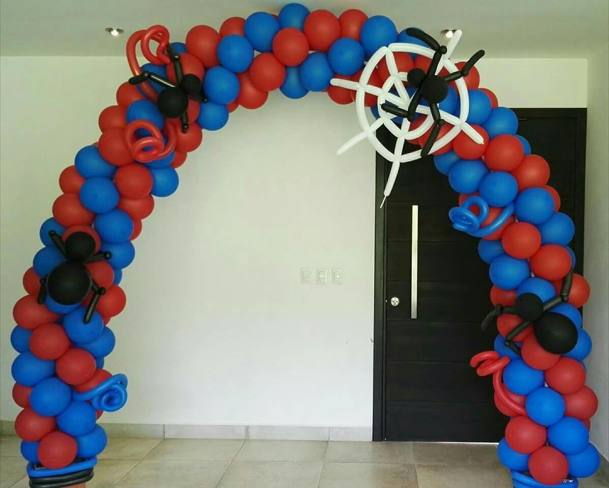 Arco con globos hombre ara a spider man pinterest - Decoracion de aranas ...
