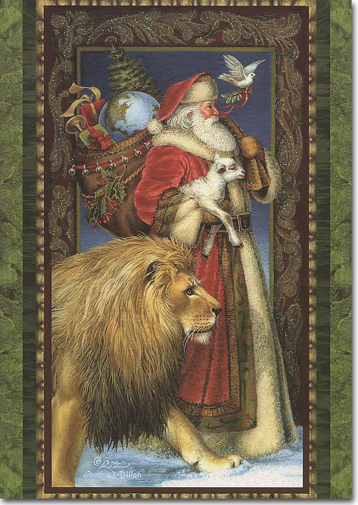 Santa Walking with Lion & Lamb 14 Boxed Christmas Cards by LPG ...