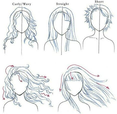 Curly Wavy Straight Short Hairstyles Text How To Draw Manga Anime How To Draw Hair Art Tutorials Drawings