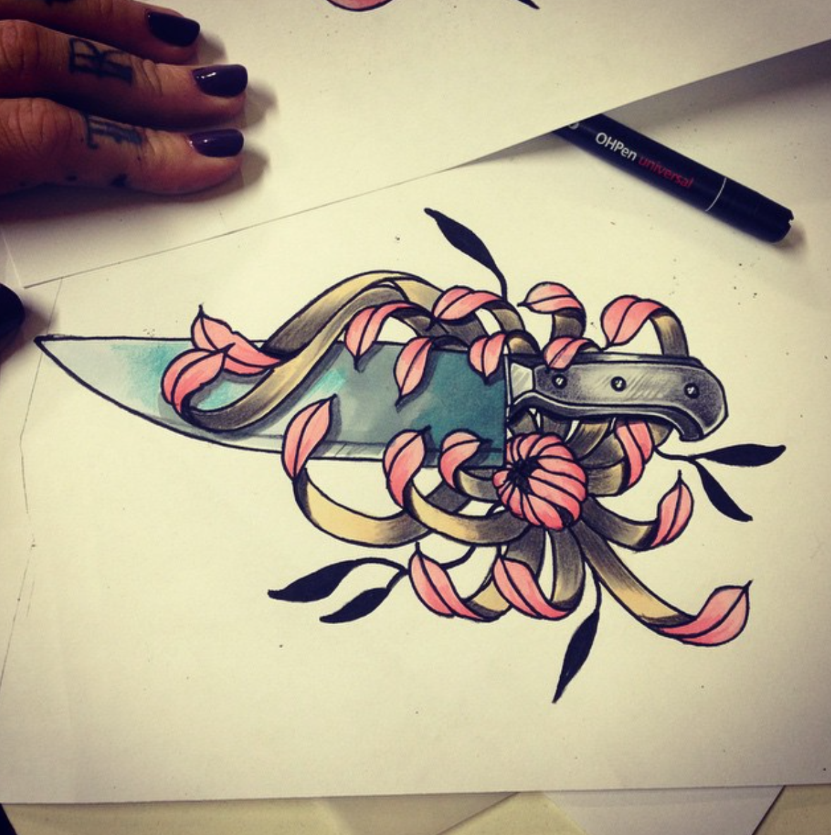 Pin Amelia Bshara Traditional Neotraditional Tattoo Ideas Knife Design