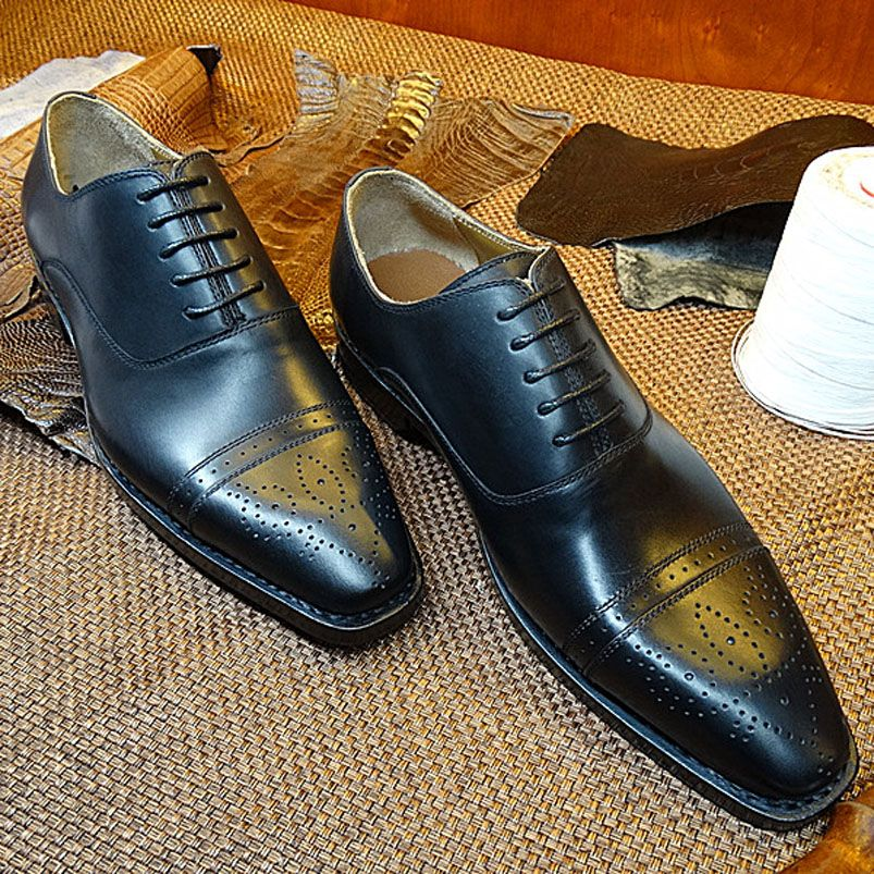 $299.90 (Buy here: http://appdeal.ru/efra ) LA18 Custom Made Goodyear Handmade Men's Oxfords Shoes Black Genuine Leather Massage Breathable Wedding Formal Office Shoes  for just $299.90