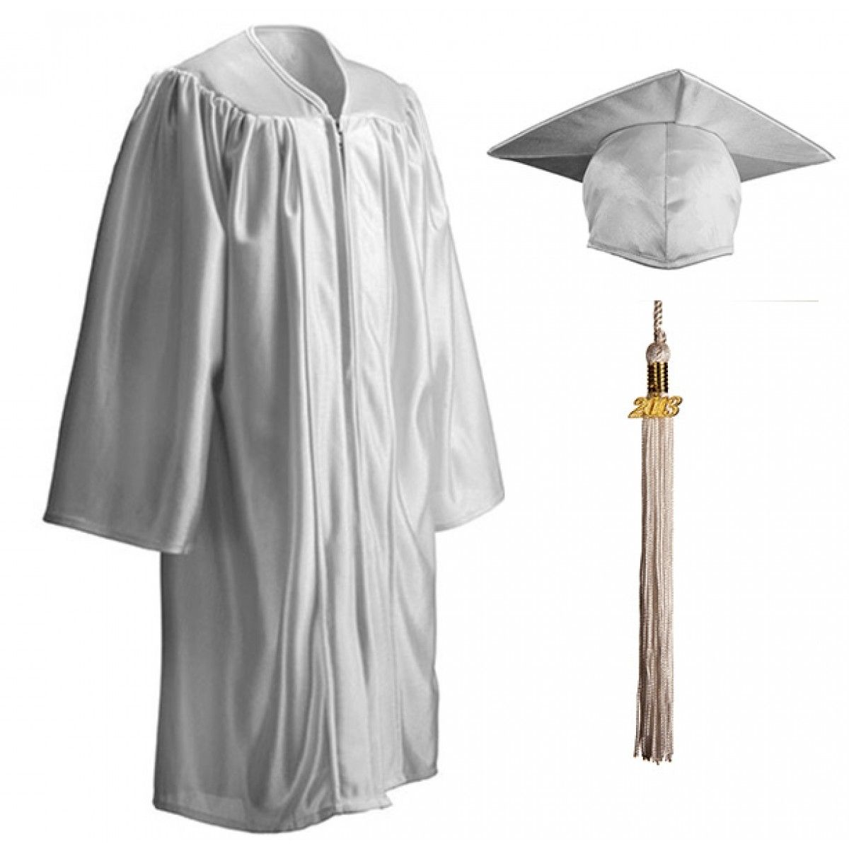 Child Shiny White Cap, Gown & Tassel | GraduationSource Products ...