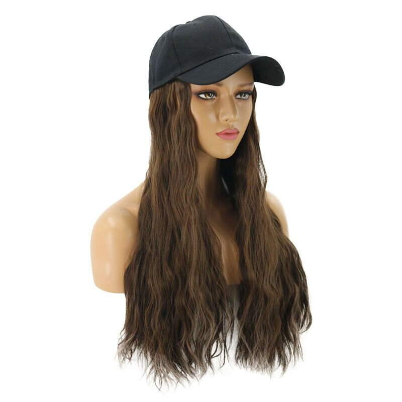 Baseball Cap Hat Wig Long Wavy Curly Synthetic Hair Hairpiece Wigs Women Fashion Ad Aff Wig Long Wavy Hair Pieces Synthetic Hair Wigs