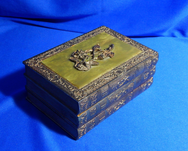 Brass Jewelry Box Book Shaped Trinket Box Embossed Box Etsy Music Box Jewelry Brass Jewelry Trinket Boxes