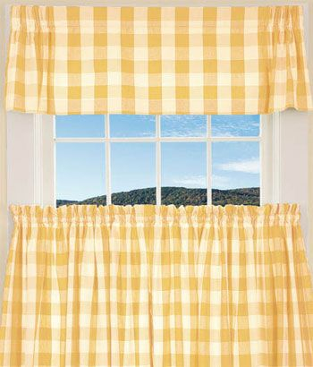 Buffalo Check Tailored Valance Top Valence For My Bathroom Yellow Curtains Living Room Curtains Living Room Rooms Country