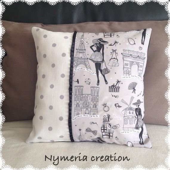 housse de coussin r tro la parisienne et tissu pois textiles et tapis par nymeria creation. Black Bedroom Furniture Sets. Home Design Ideas