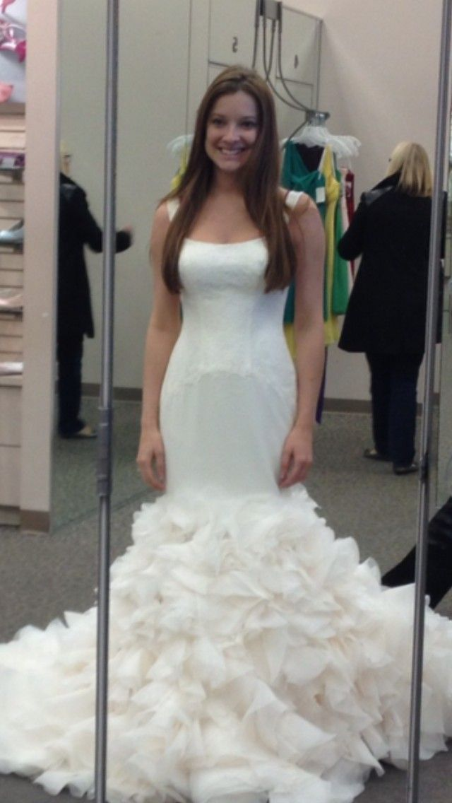 White By Vera Wang Georgette Mermaid Gown Size 4 New Wedding Dress ...