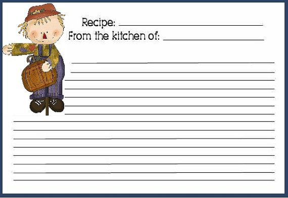FREE DIY Printable Recipe Cards 4x6 Fall Buddies Go to www - free recipe card templates for word