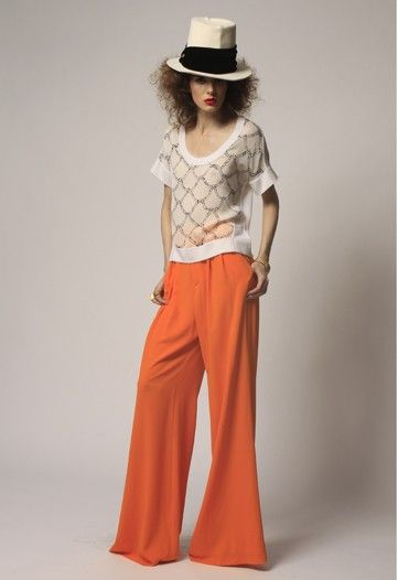 Find the Style orange pants http://rstyle.me/g6qrgfbu6e and white ...