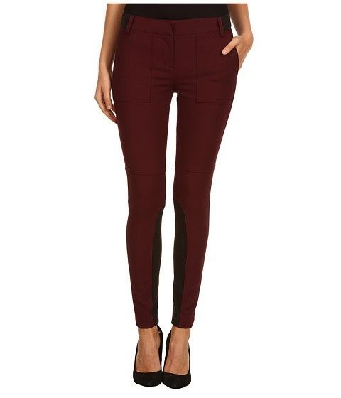 TIBI EQUESTRIAN OFFICE SUIT LEGGING SKINNY RIDING EQUESTRIAN WINE RED PANT 6 8