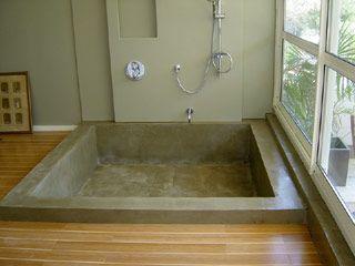 baignoire beton cire