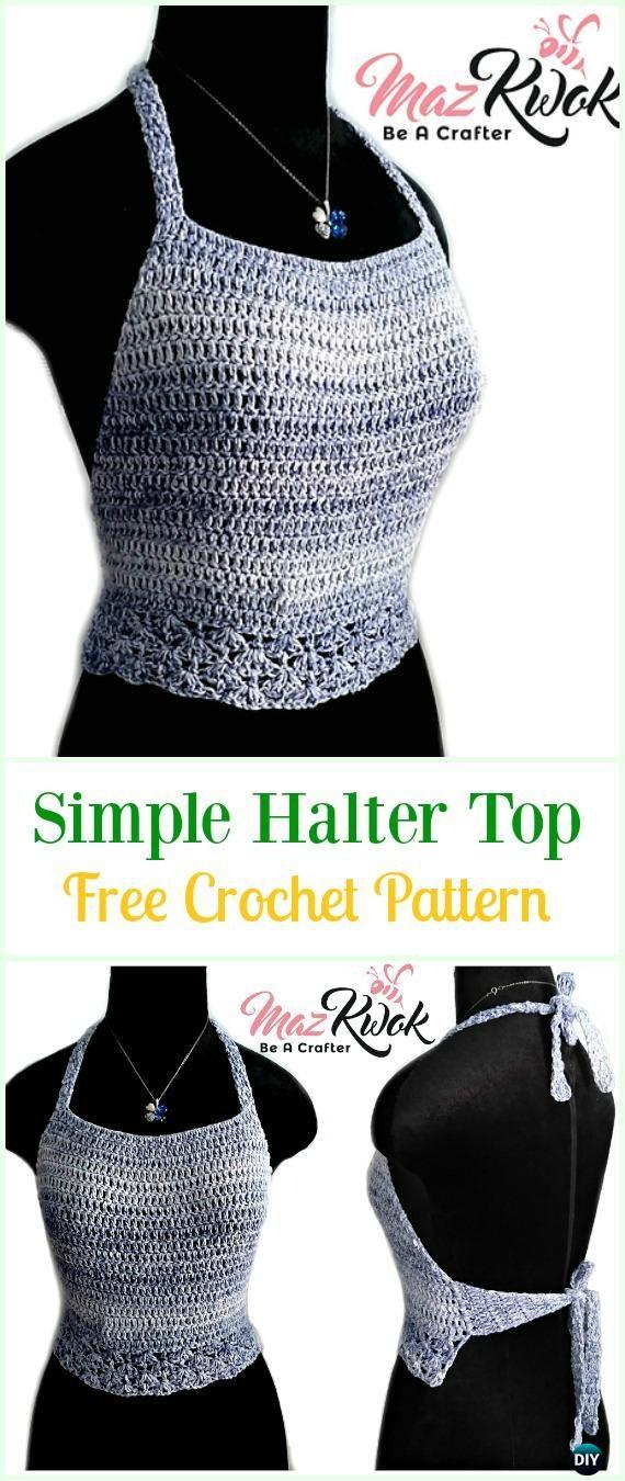 Crochet Simple Halter Top Free Pattern-#Crochet Summer Halter #Top ...