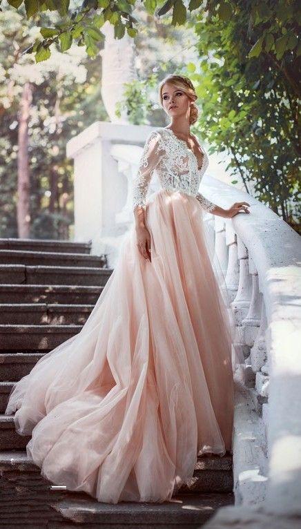 Elegant V Neck Pink Tulle Long Sleeves Lace A Line Wedding Dresses