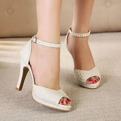 62619 Wedding Shoes And Bridal Shoes Ivory Pearl Shine Lace Open Toe Heels  Bridal Ankle Strap Wedding Shoe Size 5 8 BUY IT NOW ONLY $39.99 Ivory Pearl  Shine ...