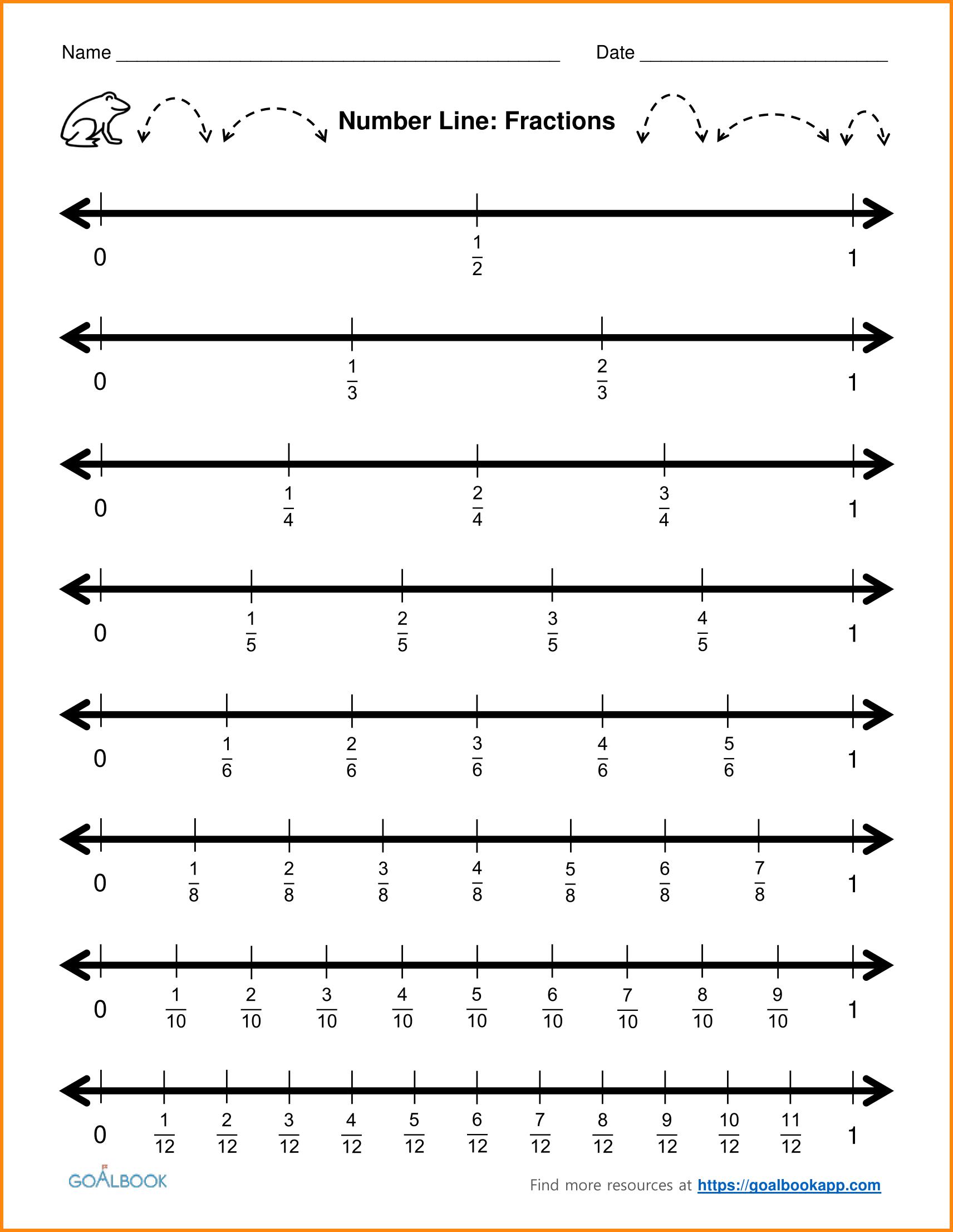 8 Fraction On A Number Line