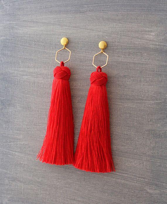 1374402dc947 Tassel Earrings - Red Tassel Earrings - Tassle Earrings - Long ...