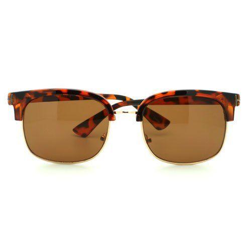 cbc3bc9f9ab Turtle Shell Trendy Half Rim Clubmaster Style Thick Horn Rim Sunglasses  106Shades.  9.90