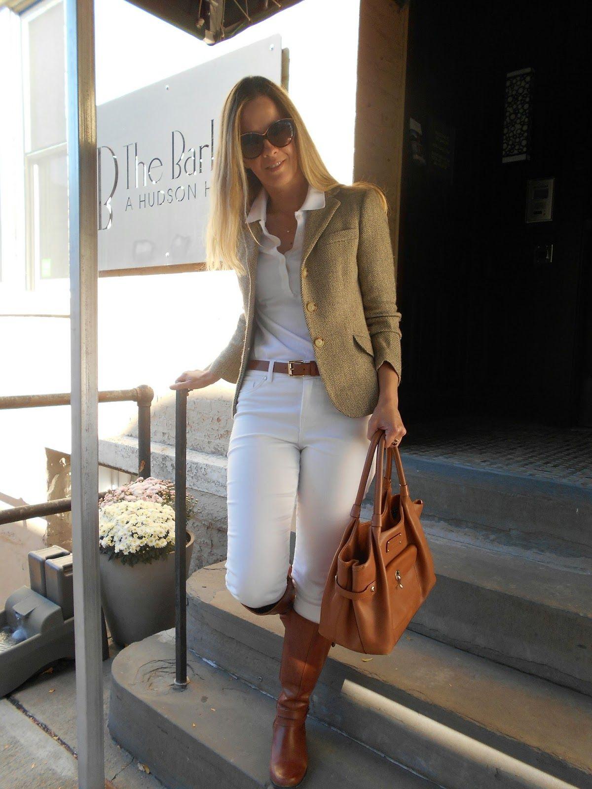 7b67380c Tweed blazer: Ralph Lauren ( Similar ), White polo: Tommy Hilfiger , White skinny  jeans: Eileen Fisher , Riding b.