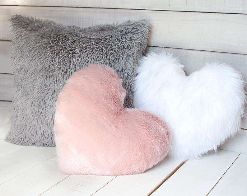 White Fur Heart Shaped Pillow Fur Nursery Pillow Pink And Etsy Nursery Pillows Fuzzy Pillows White Fluffy Pillow
