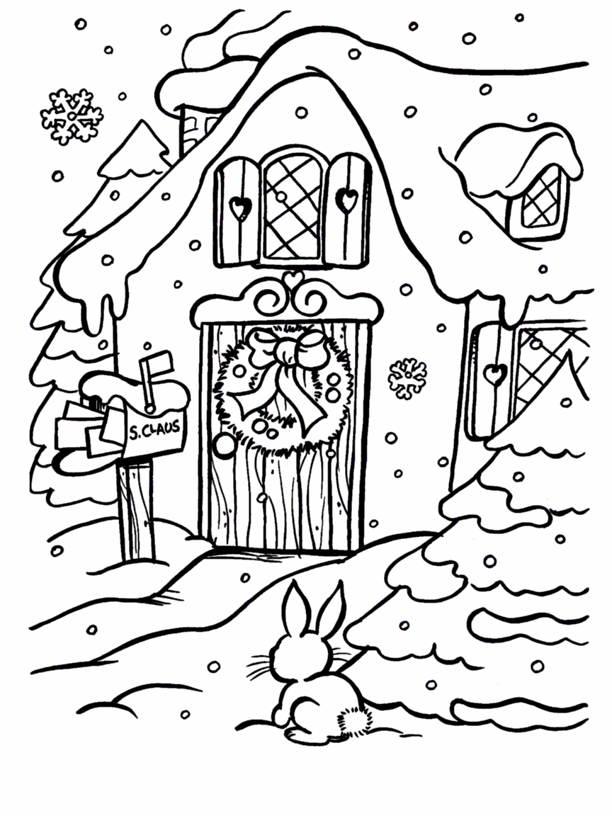 front of christmas cottage coloring page christmas pinterest